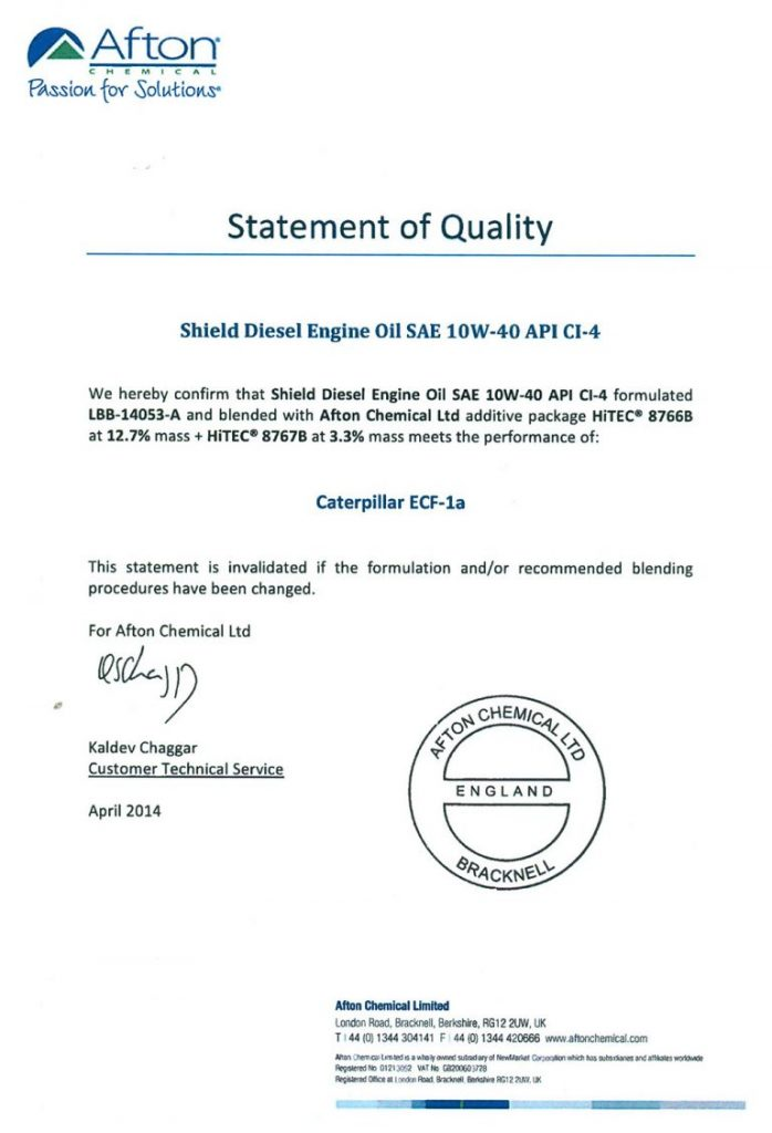 Shield Quality Certificates | Shield Lubricants
